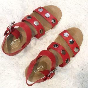 Michael Kors Reggie Red Leather Sandal Studded